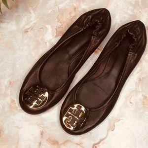 Tory Burch Dark Chocolate Ballet Flats w/ Gold